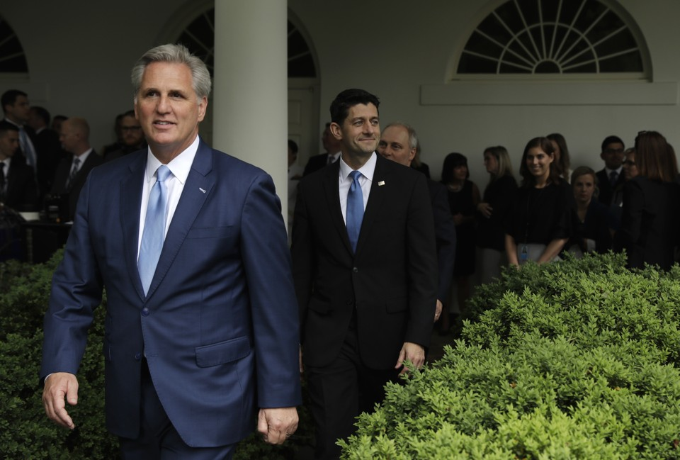 What the house gops health care gamble means for 2018 the atlantic house republicans including the majority leader and house speaker at the white house after the health care vote evan vucci ap sciox Images