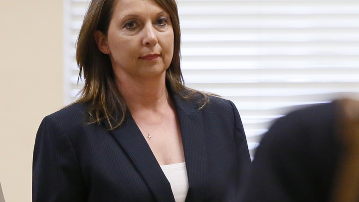 Tulsa police officer Betty Shelby leaves a courtroom in Tulsa, Oklahoma following testimony in her trial over the fatal shooting of Terence Crutcher on May 12, 2017.