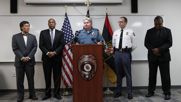 Police and University of Maryland officials address the fatal stabbing of Richard Collins III in a news conference on May 21, 2017.