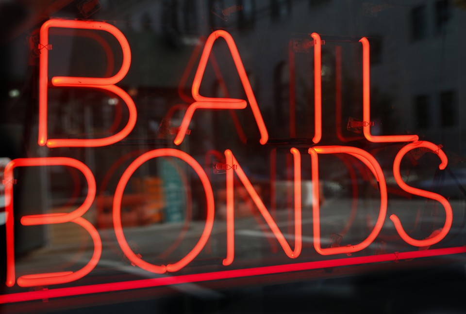 A sign advertising bail bonds