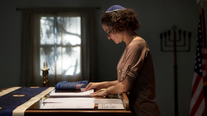 A student rabbi looks over her notes in South Dakota.