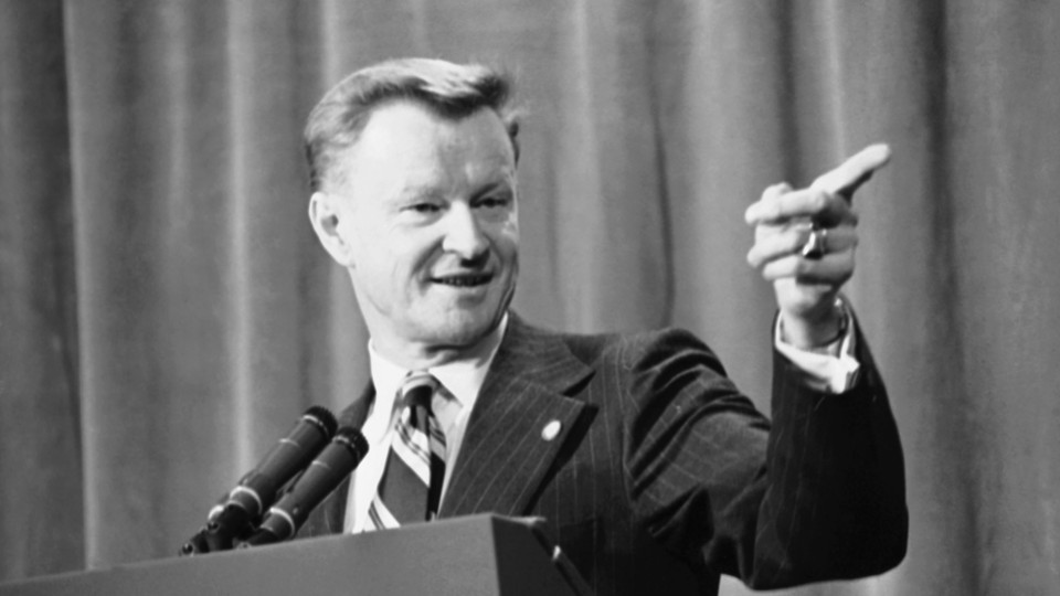 Zbigniew Brzezinski, then in his late 40s, briefs reporters on Middle East talks between President Carter and Syrian President Hafez Assadin Geneva, Switzerland on May 9, 1977. He died yesterday at age 89.