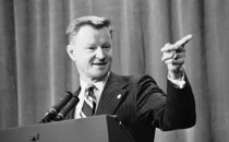 Zbigniew Brzezinski, then in his late 40s, briefs reporters on Middle East talks between President Carter and Syrian President Hafez Assad in Geneva, Switzerland on May 9, 1977. He died yesterday at age 89.