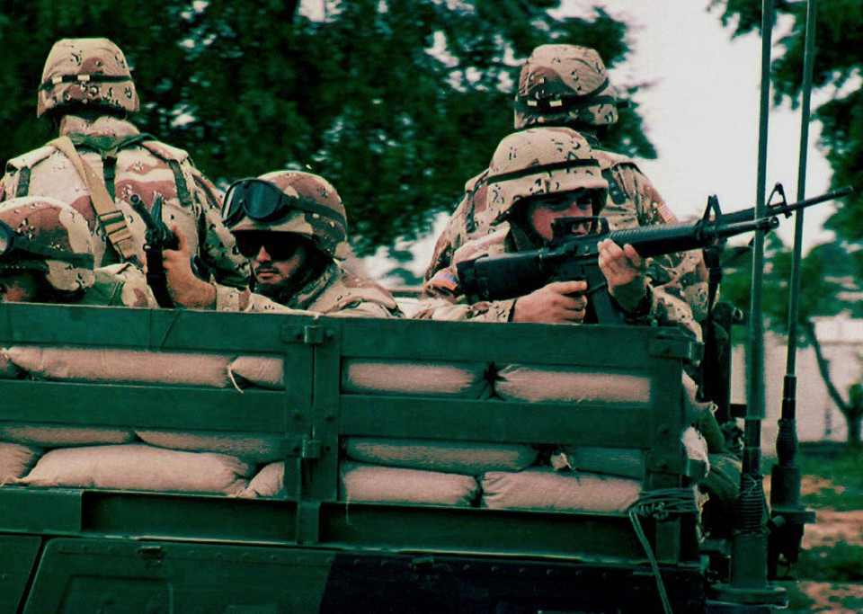 American UN soldiers patrol in southern Mogadishu, Somalia, in October of 1993.