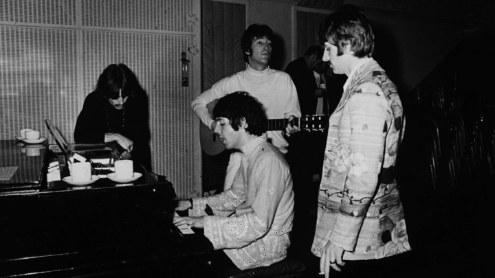 The Beatles during a recording session at EMI Studios, Abbey Road, London, in 1967. From Left: George Harrison, Paul McCartney, John Lennon, and Ringo Starr.