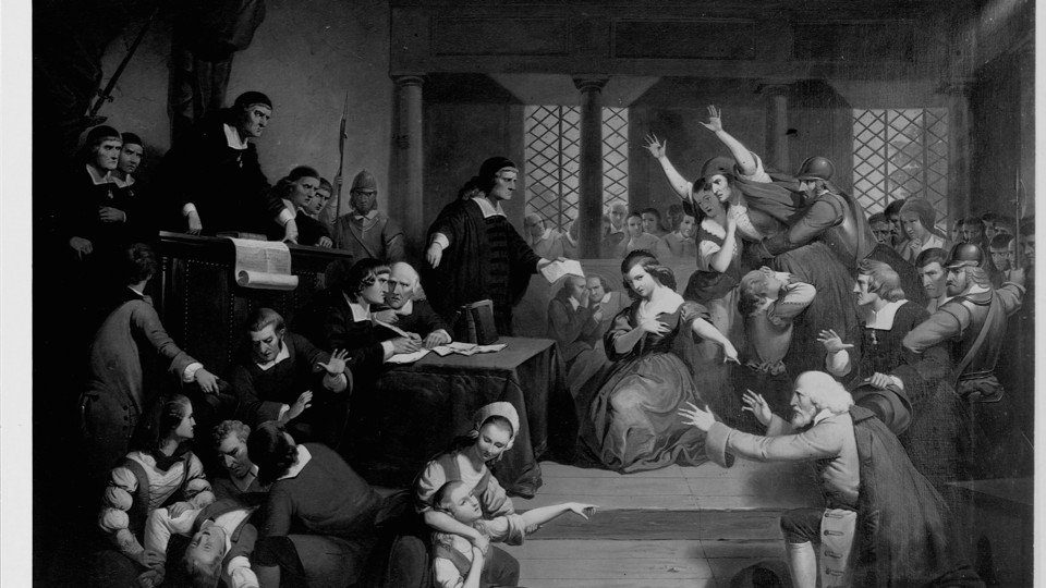 A portrayal of the 1692 witchcraft trials in Salem, Massachusetts.