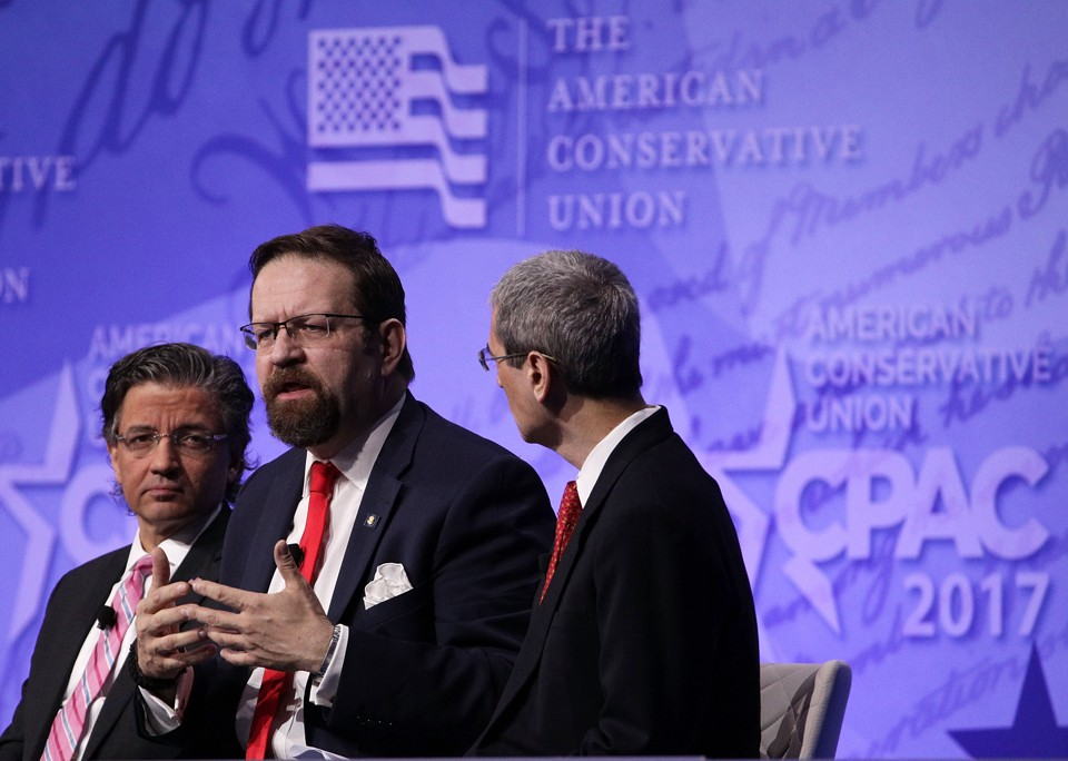 Deputy assistant to President Trump Sebastian Gorka and ACU Board Member Zuhdi Jasser participate in a discussion during the Conservative Political Action Conference.