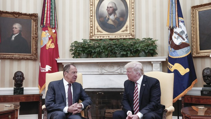 Russian Foreign Minister Sergei Lavrov and President Trump meet in the Oval Office on May 10.