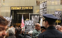 Protestors outside Trump Tower