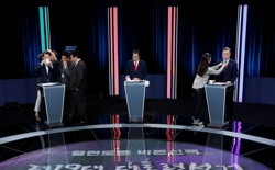 Ahn Cheol Soo, the presidential candidate of the People's Party, Hong Joon Pyo, the presidential candidate of the Liberty Korea Party, and Moon Jae In, the presidential candidate of the Democratic Party of Korea, attend a televised debates for upcoming May 9 presidential election.