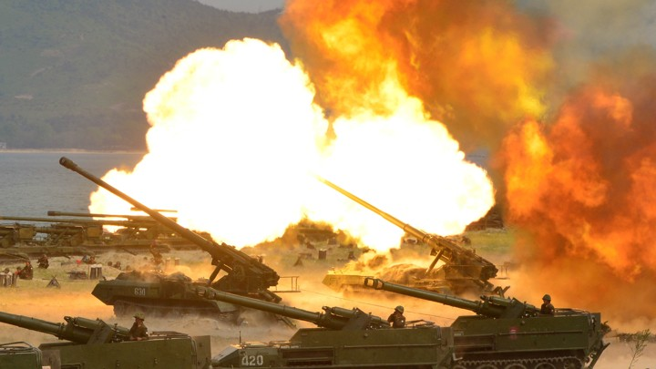 A North Korean military drill marking the 85th anniversary of the establishment of the Korean People's Army