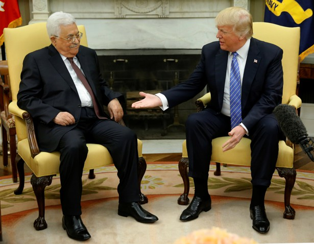 President Trump welcomes Palestinian President Mahmoud Abbas at the White House on May 3, 2017.