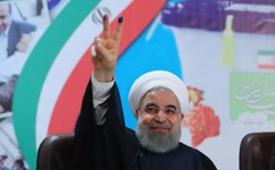Iran's President Hassan Rouhani gestures as he registers to run for a second four-year term in the May election, in Tehran, Iran, on April 14, 2017.