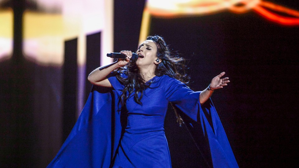 "Jamala, the singer representing Ukraine, performs with the song ""1944"" during the Eurovision Song Contest final."