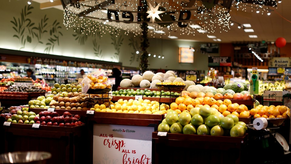 A display of fruit at a grocery store