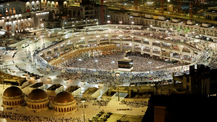 The Kaaba at the Grand Mosque in Mecca