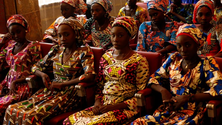 Some of the 21 Chibok schoolgirls released by Boko Haram look on during their visit to meet President.