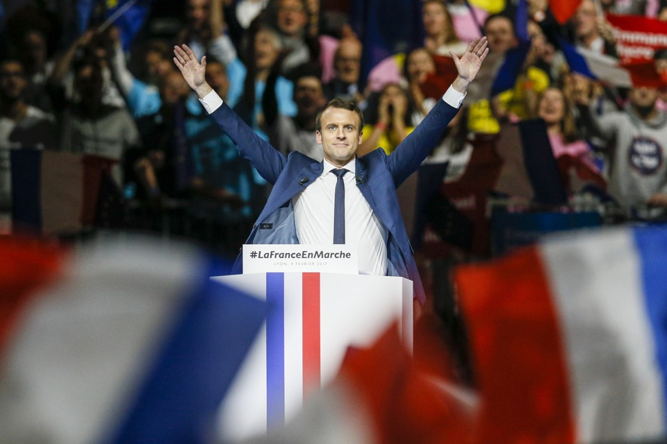 Emmanuel Macron delivers a speech during a campaign rally in Lyon, France on February 4, 2017.