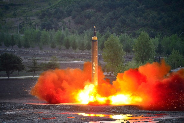 The long-range strategic ballistic rocket Hwasong-12 (Mars-12) is launched during a test.