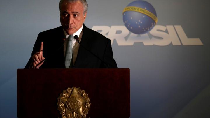Brazilian President Michel Temer speaks at the Planalto Palace in Brasilia, Brazil on May 18, 2017.