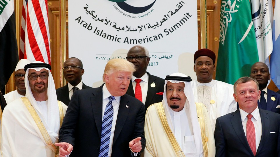 Jordan's King Abdullah II, Saudi Arabia's King Salman bin Abdulaziz Al Saud, U.S. President Donald Trump.