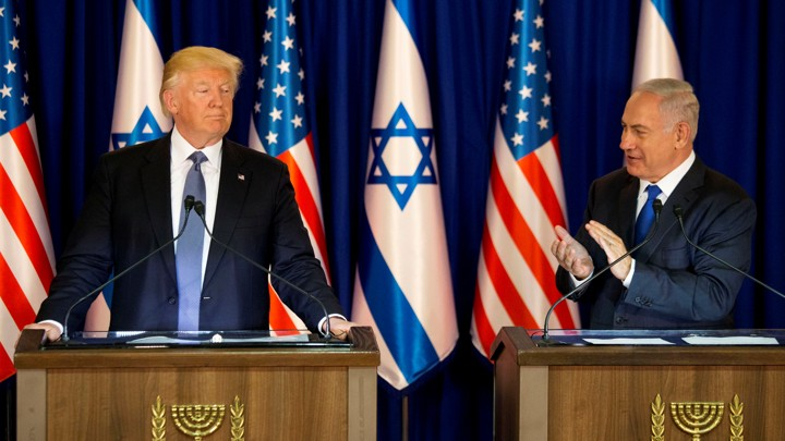 President Donald Trump and Israel's Prime Minister Benjamin Netanyahu deliver remarks before a dinner at Netanyahu's residence in Jerusalem on May 22, 2017.