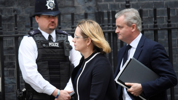 Amber Rudd, the U.K. home secretary, arrives Wednesday at 10 Downing Street