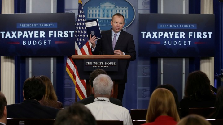 Office of Management and Budget Director Mick Mulvaney presents President Donald Trump's proposed budget.
