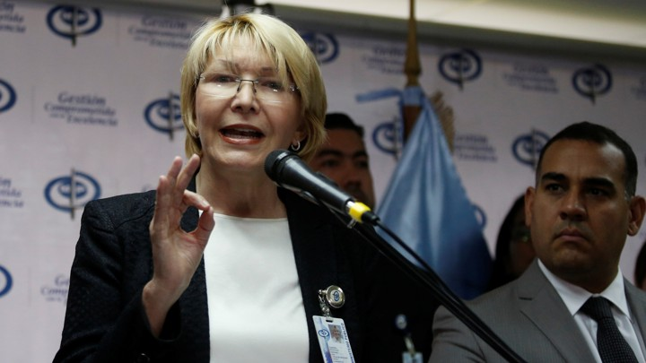 Venezuela's chief prosecutor Luisa Ortega Diaz talks to the media during a news conference in Caracas, Venezuela, on May 24, 2017.