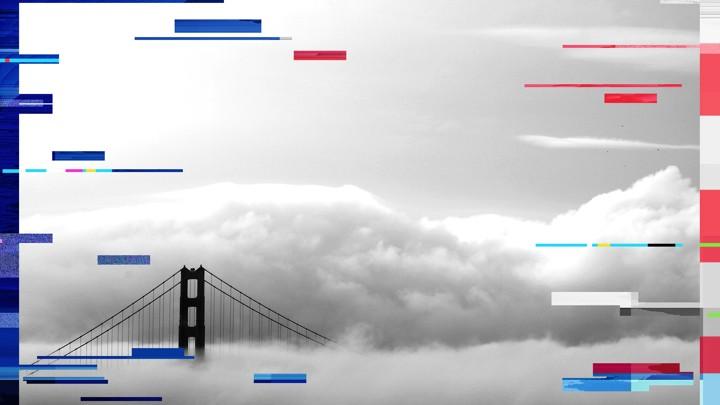 Fog envelops the Golden Gate Bridge in San Francisco, California.