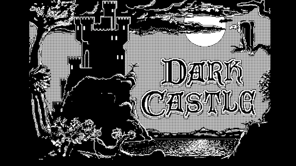 A screenshot of the 1986 Macintosh computer game Dark Castle