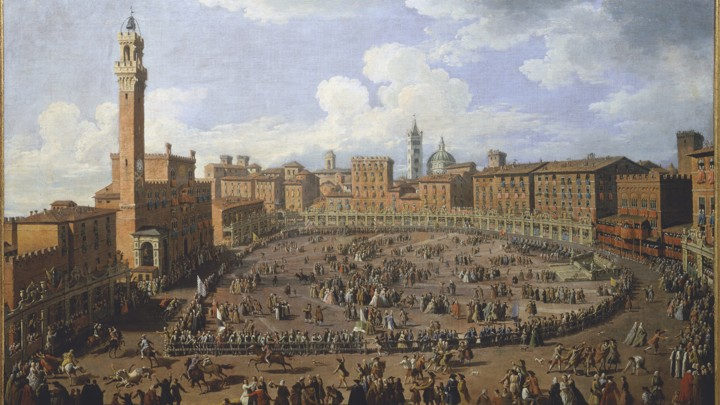 """""""The Palio Race in the Campo in Honor of Grand Duke Francis of Tuscany and Archduchess Maria Theresa of Austria"""" by Giuseppe Zocchi, 1739"""