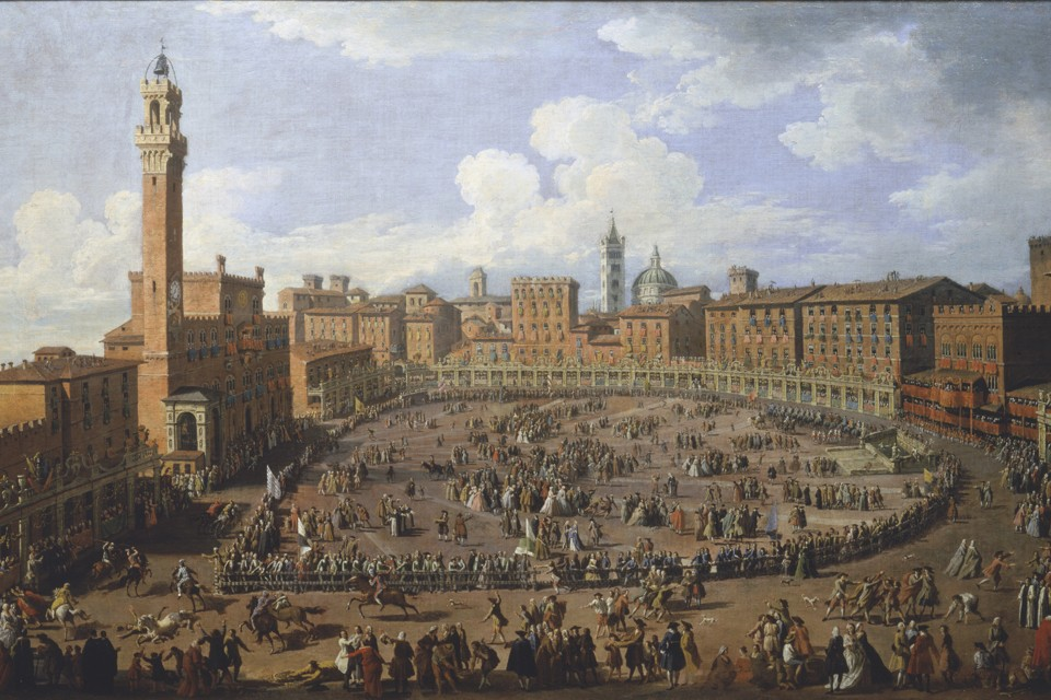 """The Palio Race in the Campo in Honor of Grand Duke Francis of Tuscany and Archduchess Maria Theresa of Austria"" by Giuseppe Zocchi, 1739"