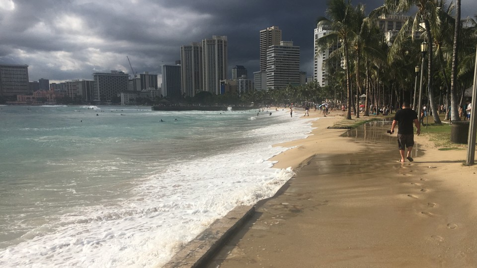 A historically high tide washes up over Queens Beach in Waikiki over Memorial Day Weekend.