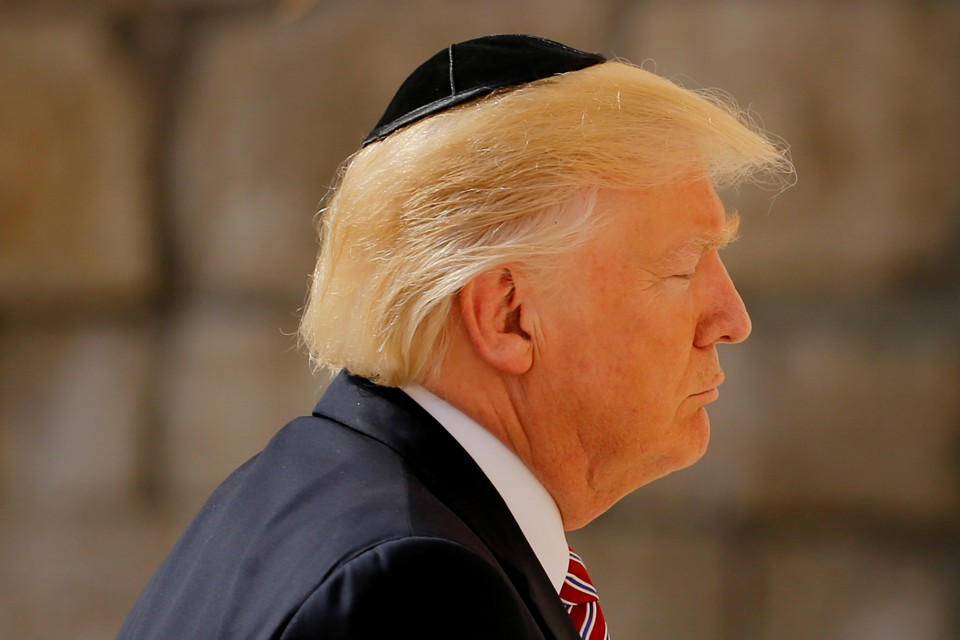 U.S. President Donald Trump prays at the Western Wall in Jerusalem