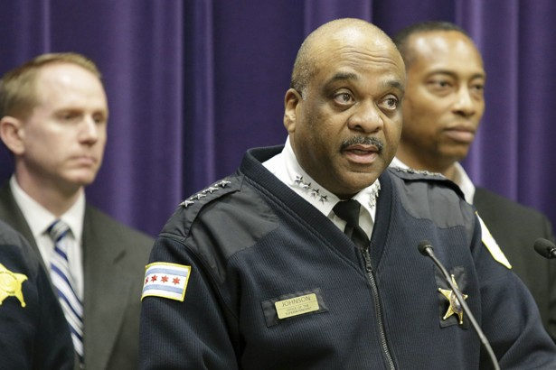 Chicago Police Department Superintendent Eddie Johnson speaks during a news conference.