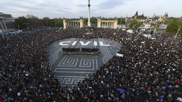 Demonstrators gather in Budapest's Heroes Square to protest Hungary's law regulating civic groups that receive foreign funding on April 12, 2017.