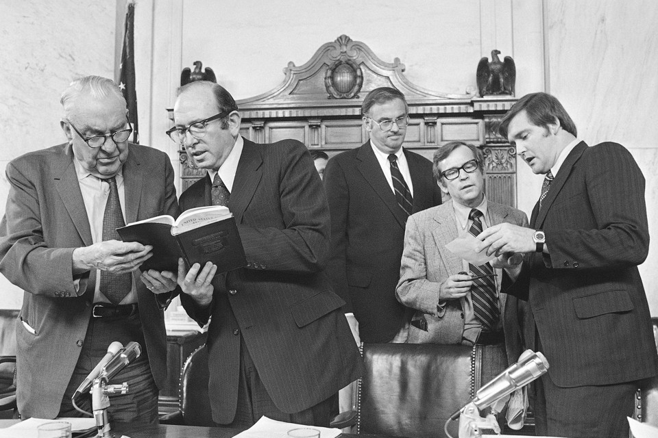 After the Senate Watergate Committee hearings concluded on Friday, August 3,1973, Senators and counsel held a session. From left are Senator Sam J. Ervin, ...