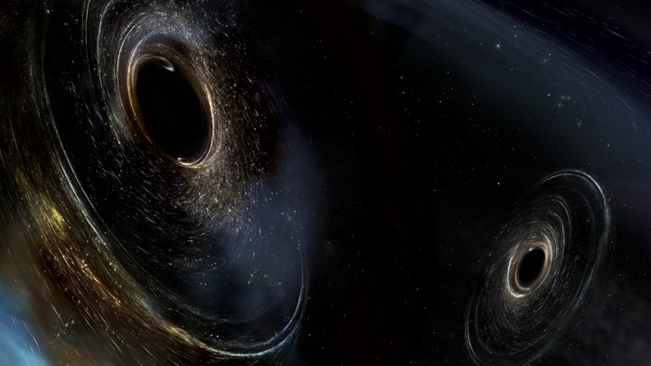 Artist's conception of two merging black holes
