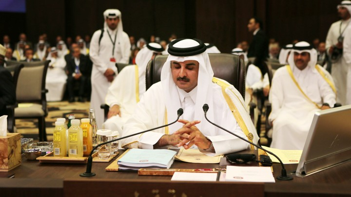 Emir of Qatar Sheikh Tamim Bin Hamad Al Thani attends the Arab League summit on March 29, 2017.