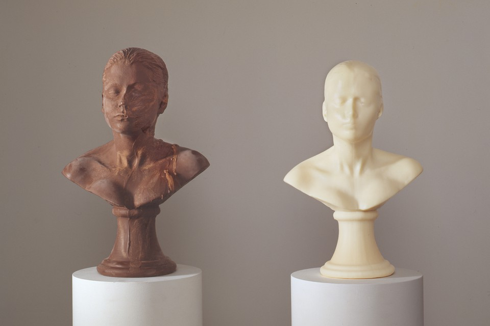 Two busts, one made of chocolate, the other made of soap, for a piece called <i>Lick and Lather</i>, 1999.