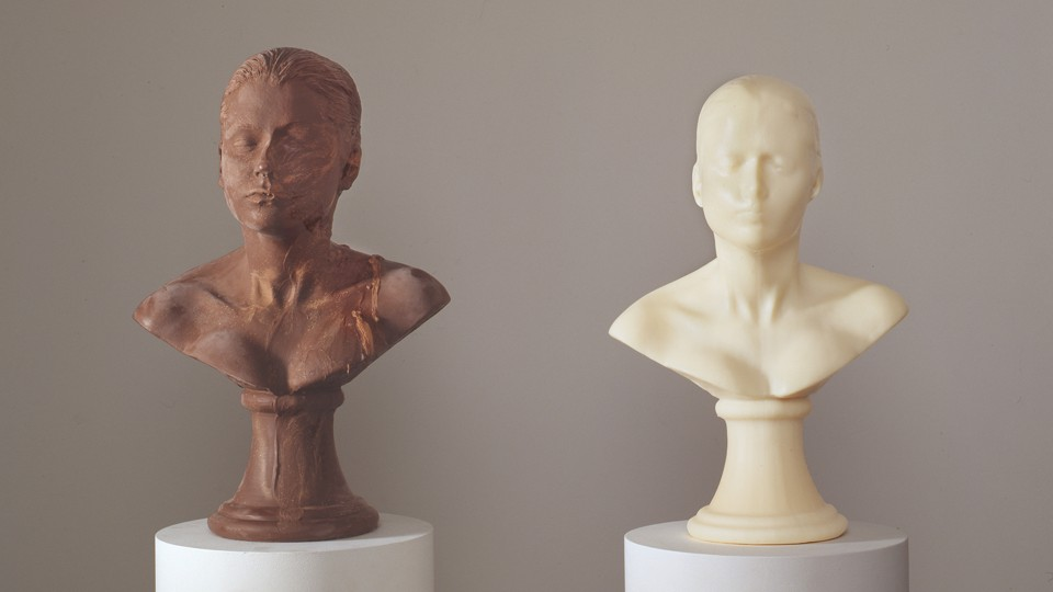 Two busts, one made of chocolate, the other made of soap, for a piece called <i>Lick and Lather</i>, 1993.