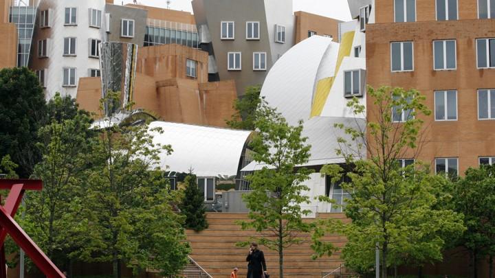 A woman walks through the MIT campus