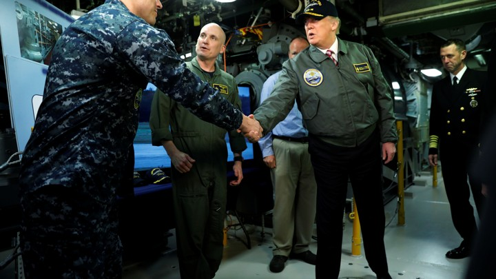 President Donald Trump tours the pre-commissioned U.S. Navy aircraft carrier Gerald R. Ford.