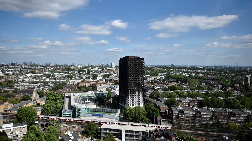 The charred remains of Grenfell Tower in West London, Britain on June 16, 2017.
