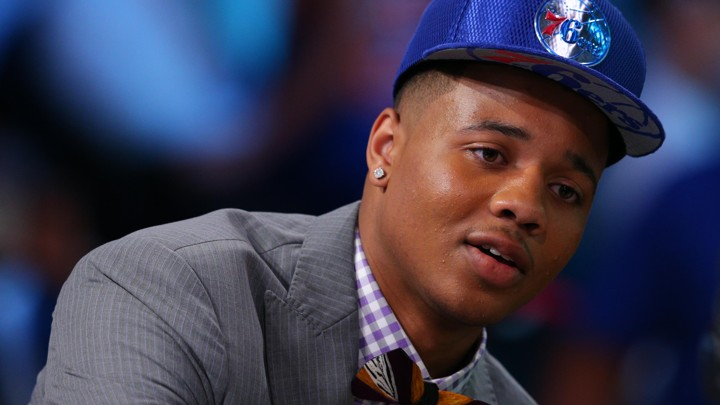 8e6f5bb578f469 Markelle Fultz is interviewed after being selected as the number one  overall pick to the Philadelphia 76ers in the first round of the 2017 NBA  Draft at ...