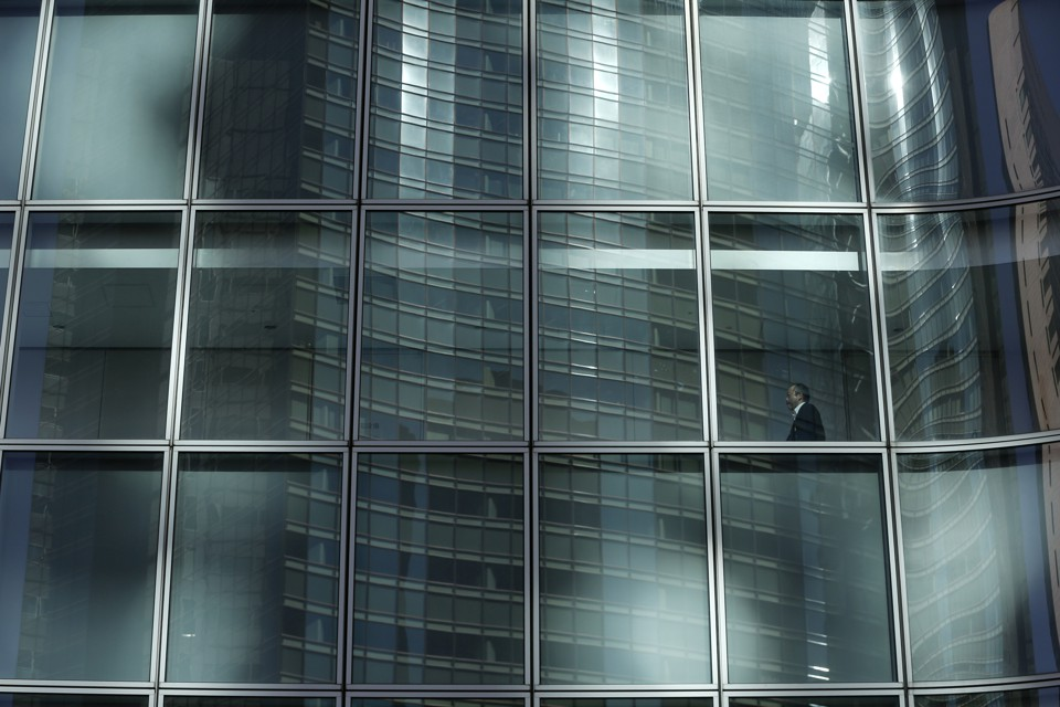 A worker in an office building