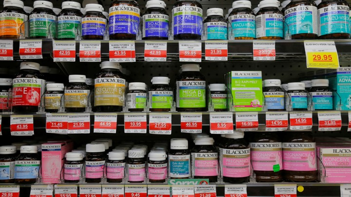 Shelves of vitamins and supplements