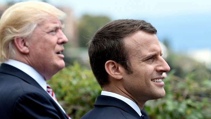 President Trump and French President Emmanuel Macron attend the G7 Summit in Sicily, Italy on May 26, 2017.