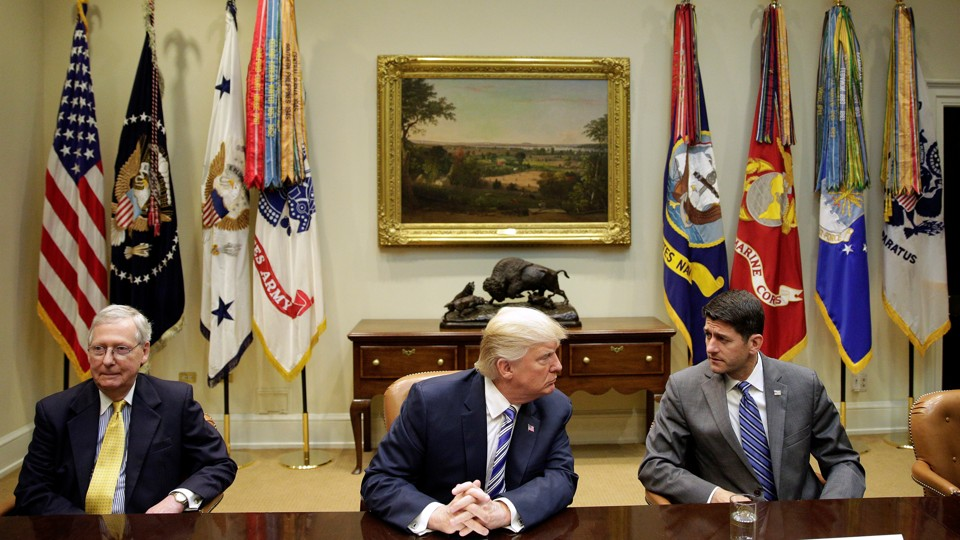 President Donald Trump meets with Senate Majority Leader Mitch McConnell and Speaker of the House Paul Ryan during a meeting with Republican Congressional leaders on June 6, 2017.
